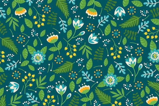 緑の色調でカラフルな頭が変な花柄背景
