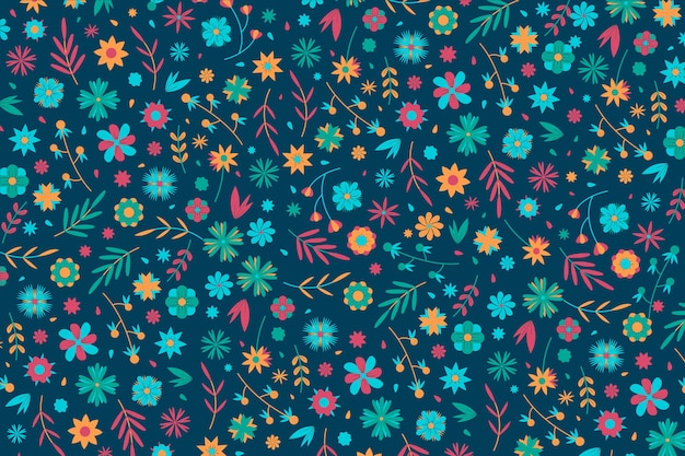 Colorful ditsy floral print concept for wallpaper