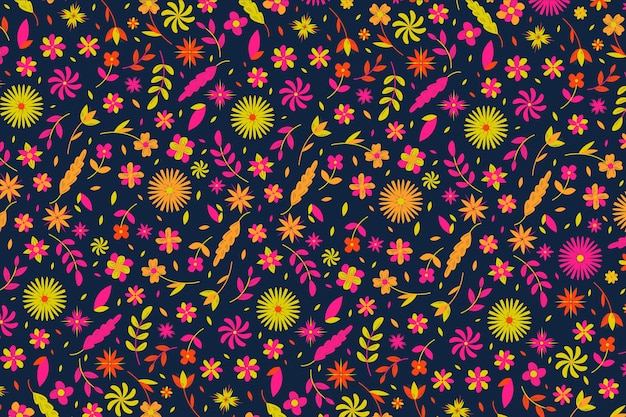 Colorful ditsy floral print design for wallpaper