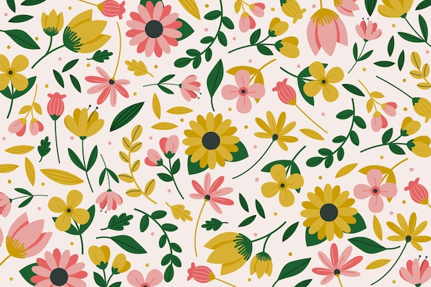 Colorful ditsy floral print theme for wallpaper