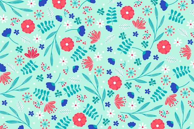 Colorful ditsy floral print wallpaper concept