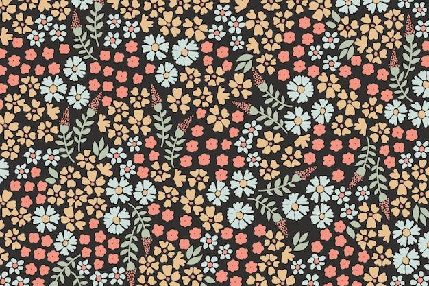 カラフルな頭が変な花柄の壁紙のコンセプト