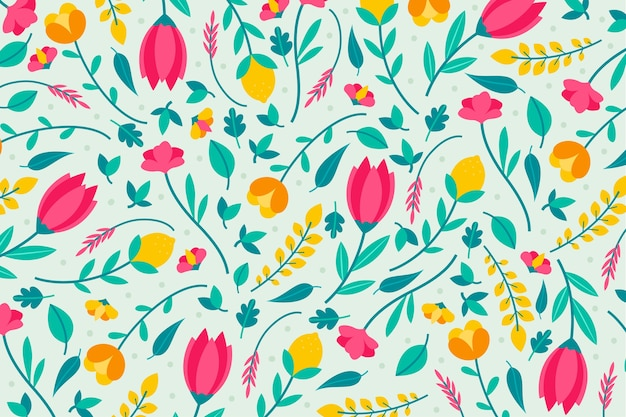 Colorful ditsy floral print wallpaper design