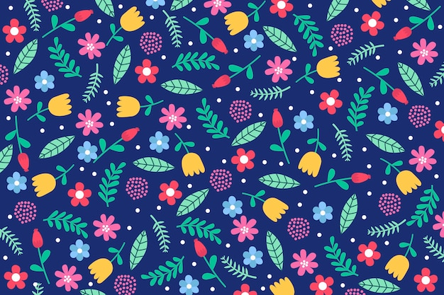 Colorful ditsy floral print wallpaper theme