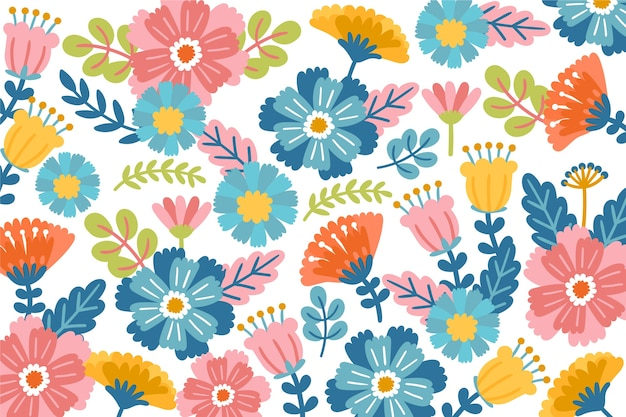 Colorful ditsy floral print wallpaper