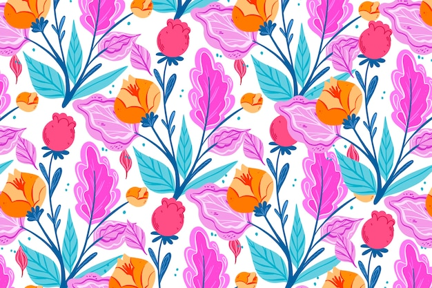 Colorful ditsy floral print on white background