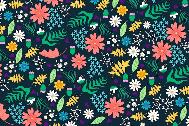 Colorful ditsy flowers on dark background