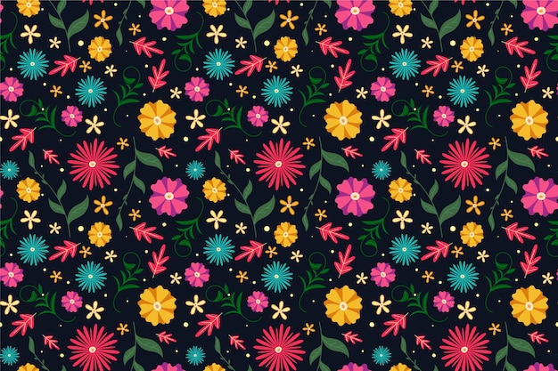 Colorful ditsy flowers print background