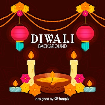 Colorful diwali background with flat design