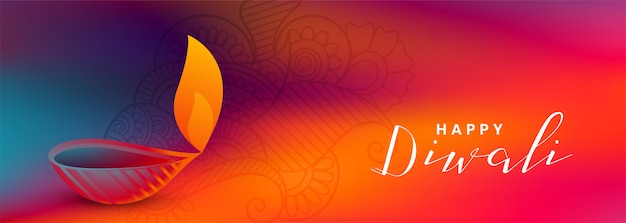 Colorful diwali festival beautiful banner with attractive diya