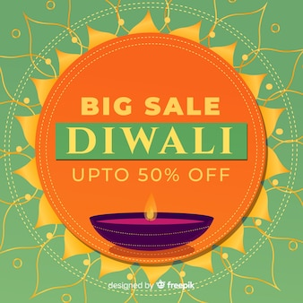 Colorful diwali sale composition with flat design