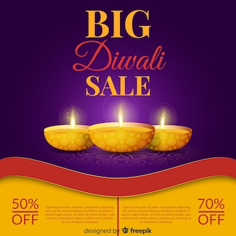 Colorful diwali sale composition with realistic design