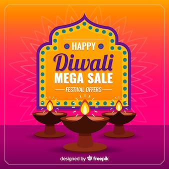 Colorful diwali sale in flat design