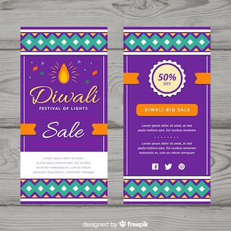 Colorful diwali sale flyer template with flat design