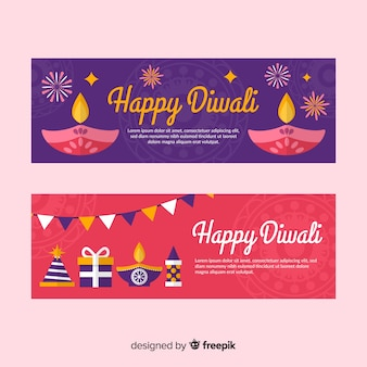 Colorful diwali web banners with flat design
