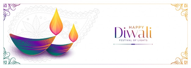 Colorful diya  for happy diwali festival banner