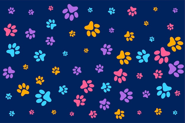 Colorful dog or cat paw prints pattern background