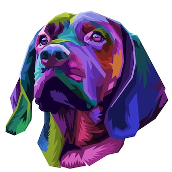 Colorful dog head on pop art style