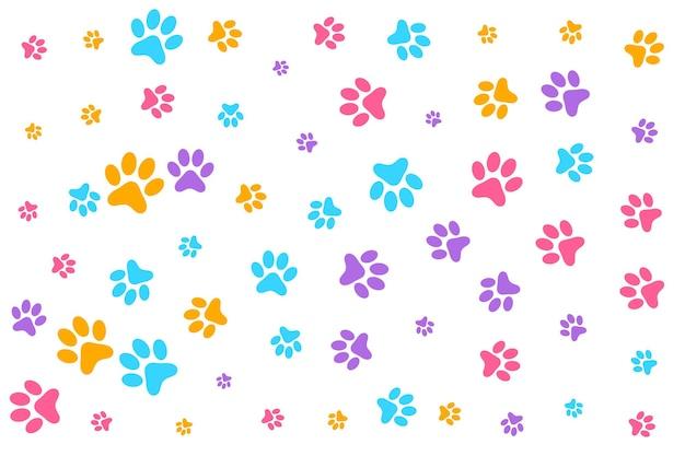 화려한 개 또는 고양이 발 인쇄 패턴 배경