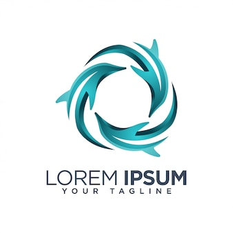 Colorful dolphin abstract logo