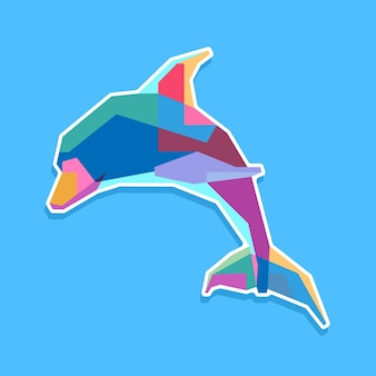 Красочный дельфин поп-арт портрет дизайн