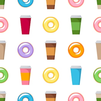 Colorful donuts and coffee cups seamless background. coffeeshop pattern vector.