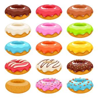 Набор иконок красочные пончики. сладкая выпечка.
