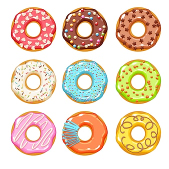 Colorful donuts icons set. sweet bakery .
