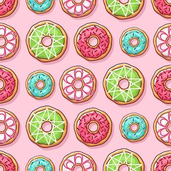 Красочные пончики иллюстрации бесшовные модели Premium векторы