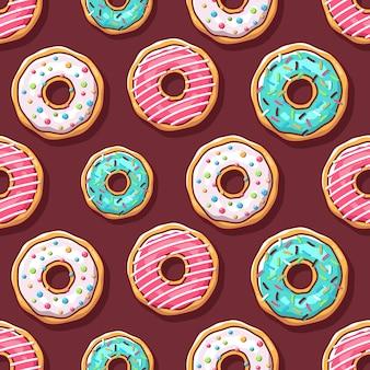 Красочные пончики иллюстрации бесшовные модели