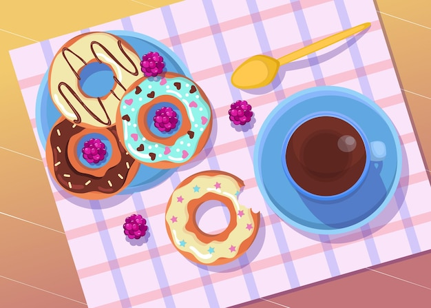 Colorful donuts on plate with coffee or tea illustration