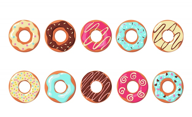 Colorful donuts set