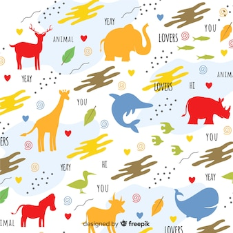 Colorful doodle animals silhouettes and words pattern