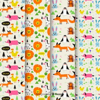 Colorful doodle animals and words pattern set