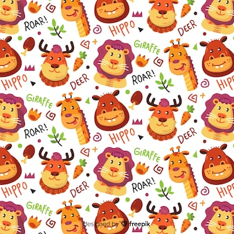 Colorful doodle animals and words pattern