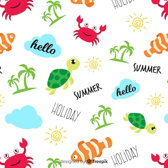 Colorful doodle beach animals and words pattern