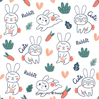 Colorful doodle bunnies and words pattern
