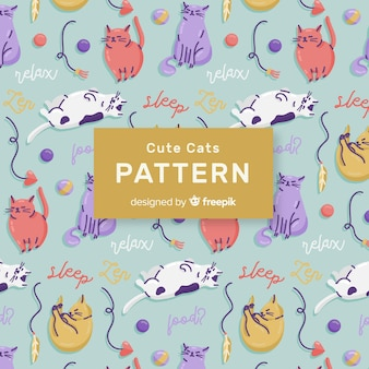 Colorful doodle cats and words pattern