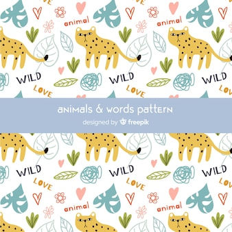 Colorful doodle cheetahs and words pattern