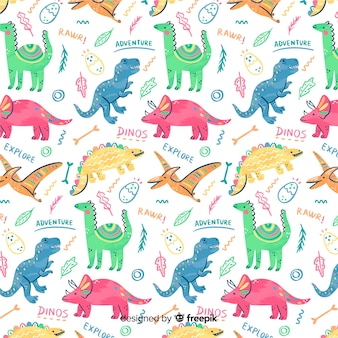 Colorful doodle dinosaurs and words pattern