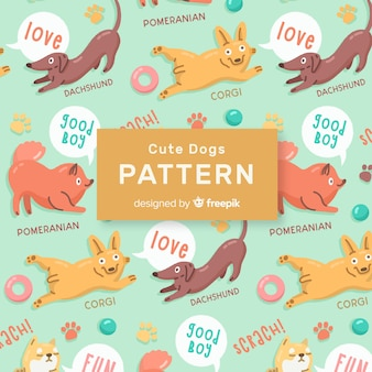 Colorful doodle dogs and words pattern
