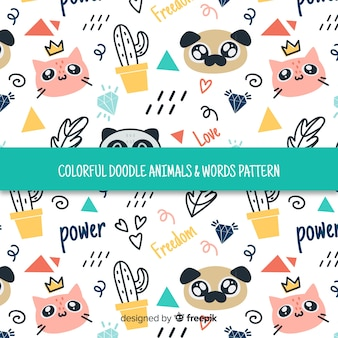 Colorful doodle domestic animals and words pattern