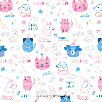 Colorful doodle domestic animals and words pattern Premium Vector
