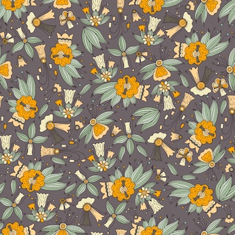 Colorful doodle floral seamless pattern.