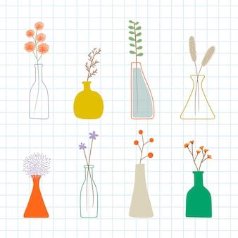 Modello di fiori scarabocchi colorati in vasi vase