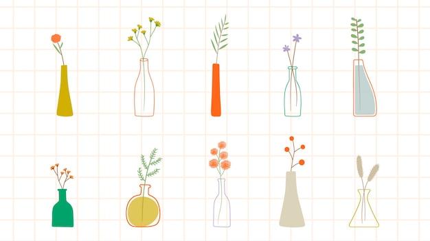 Modello di fiori scarabocchi colorati in vasi vase Vettore gratuito