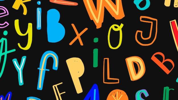 Colorful doodle font patterned background