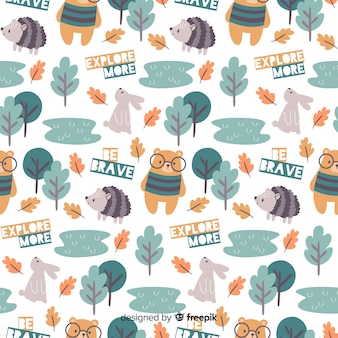 Colorful doodle forest animals and words pattern