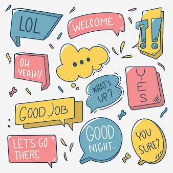 Colorful doodle hand drawn speech bubble vector set
