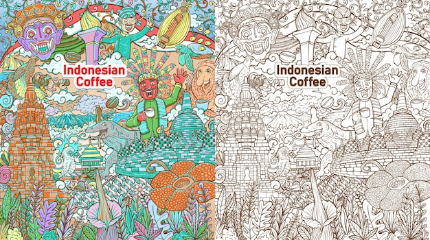 Colorful doodle indonesian java coffee colorful  background